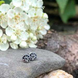 tiny studs, white gold, moonstone, earring, disc, salt and pepper diamonds