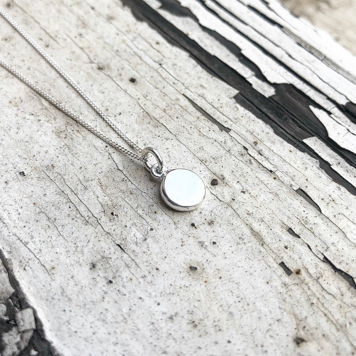 Silver disc, disc charm, disc necklace, rough with the smooth disc