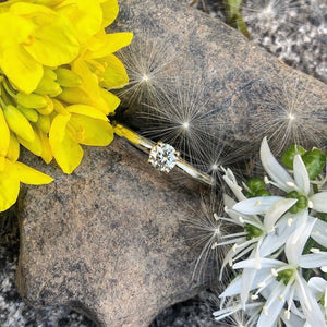 Pale Yellow diamond, Promise ring, white gold ring, engagement ring, Diamond, brilliant cut diamond