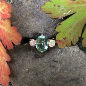 mint tourmaline, opal, yellow gold