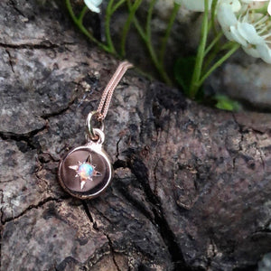 rose gold, opal, disc, charm, necklace