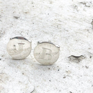 silver cufflinks, groomsmen, hand engraved, wedding, groom, cufflinks, handmade cufflinks, sterling silver