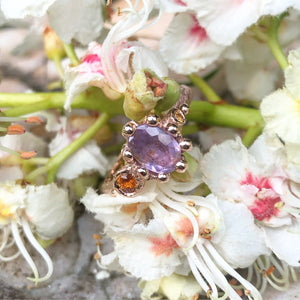 Lilac Bloom-Pale Purple & Orange Sapphire in Rose Gold