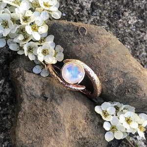 moonstone, Rose gold, embrace, twist ring, irish made