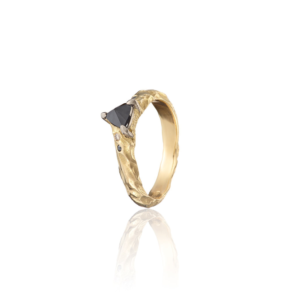 black diamond engagement ring | irish jewellery | irish goldsmith | yellow gold engagement ring | handmade engagement ring | bespoke jewellery | alternative engagement ring