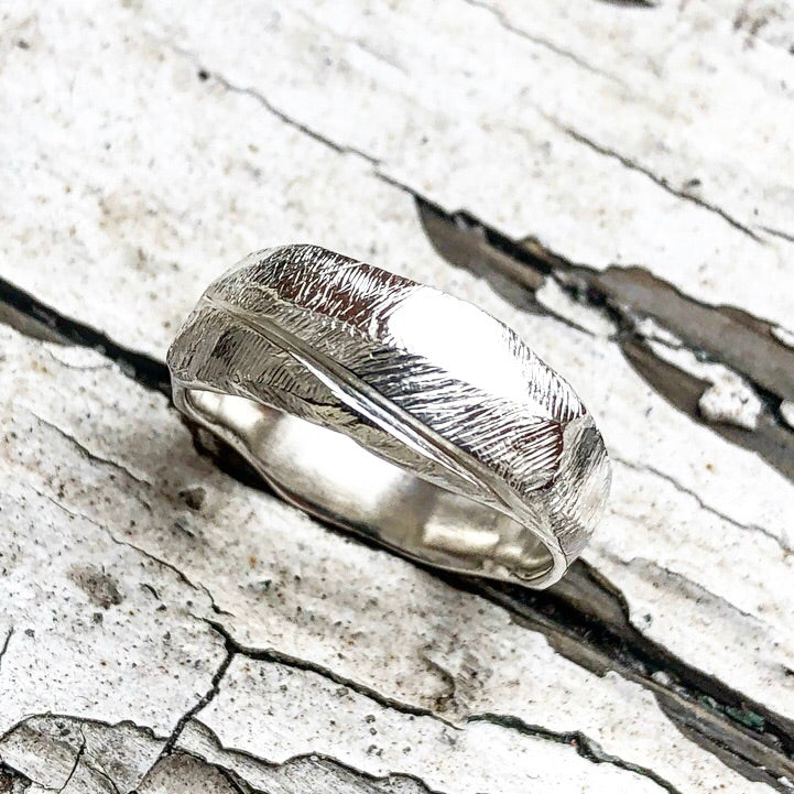 Slice-Rustic Hand Carved Silver Ring