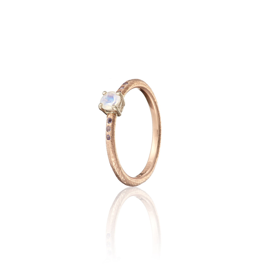 moonstone engagement ring | stacking ring | promise ring | engagement ring | rose gold ring | irish jewellery | handmade irish jewellery | bespoke irish jewellery | rose gold promise ring | tanzanite | Irish goldsmith