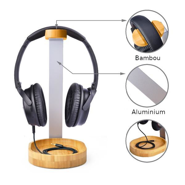 Support De Casque Hi Fi Bois Et Aluminium Awesome Woods