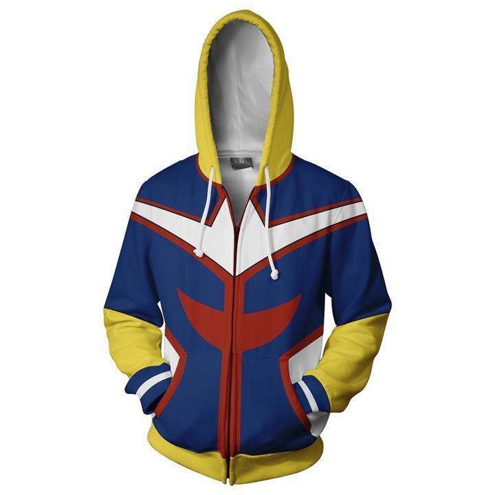 My Hero Academia Hoodies - Boku No Hero All Might Zip Up Hoodie