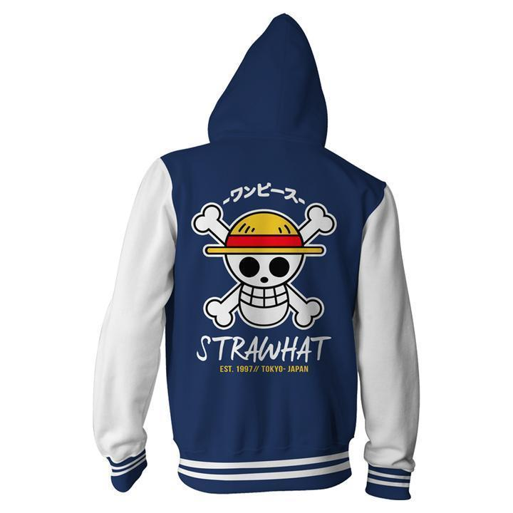One Piece Hoodies - One Piece Strawhat Zip Up Hoodie