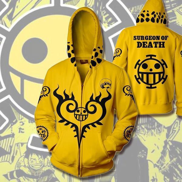 One Piece Hoodies - Trafalgar Law Zip Up Hoodie