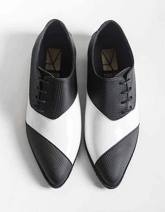 Dali Pointy Longwing Black & White Shoes
