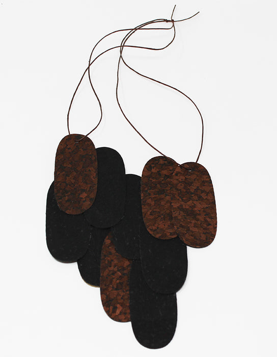 Pieces Assymmetrical M - Dark Brown & Black Cork