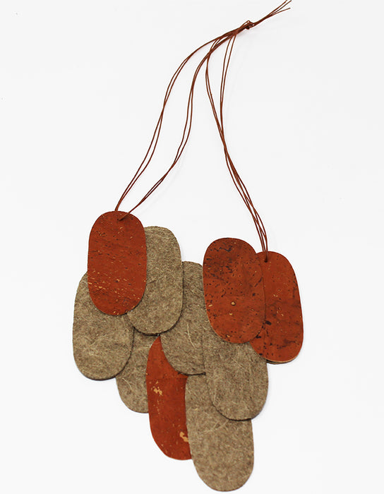 Pieces Assymmetrical M - Orange Cork & Green Mint Malai