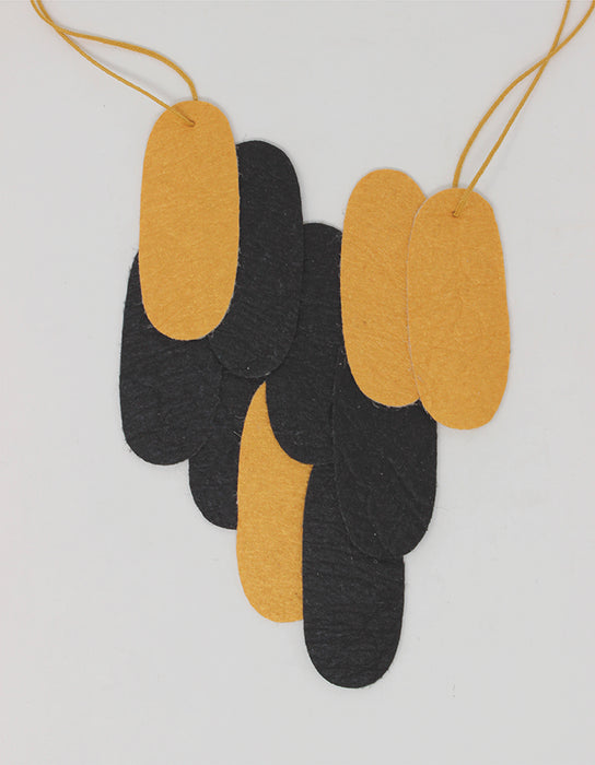 Pieces Assymetrical M - Gold & Black Pinatex