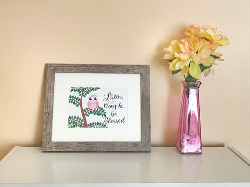 Listen obey and be blessed JW framed, personalized print for kids by Olive Branch Design Studio