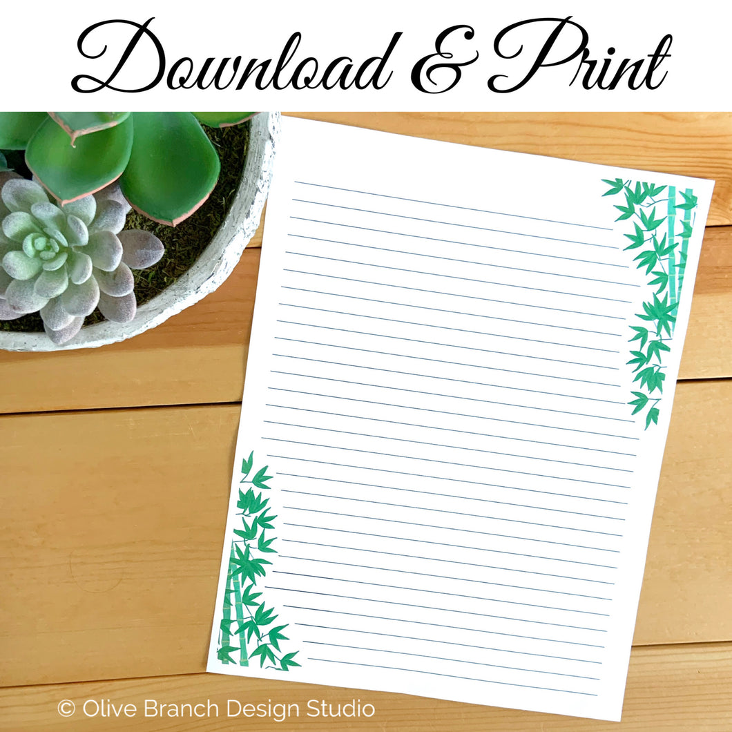 Bamboo Letter Writing Page
