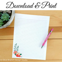 Load image into Gallery viewer, Pink Flowers Letter Writing Page
