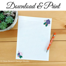 Load image into Gallery viewer, Purple Flowers Letter Writing Page