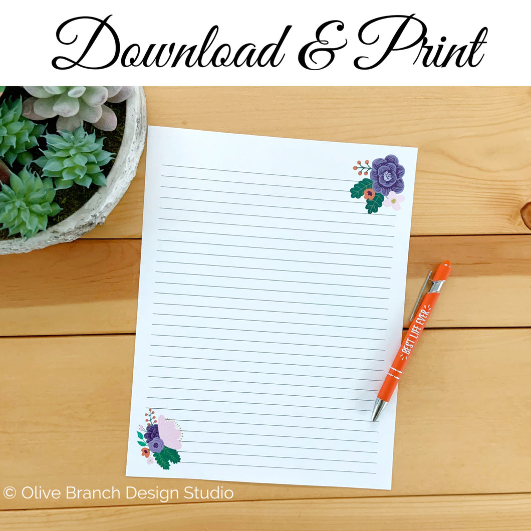 Purple Flowers Letter Writing Page