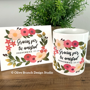 Thank You for Your Friendship - Proverbs 17:17 Mug & Card
