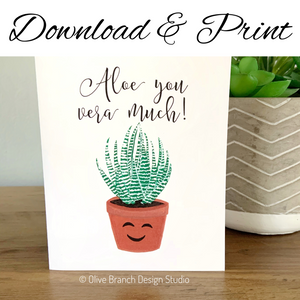 Aloe You Vera Much Card - Download & Print