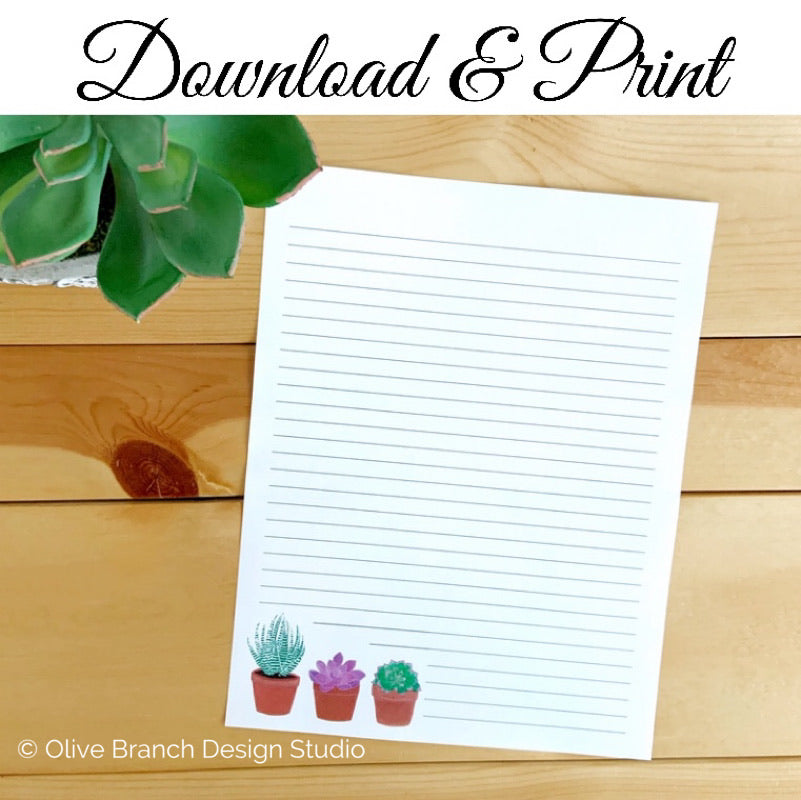 Succulents Letter Writing Page