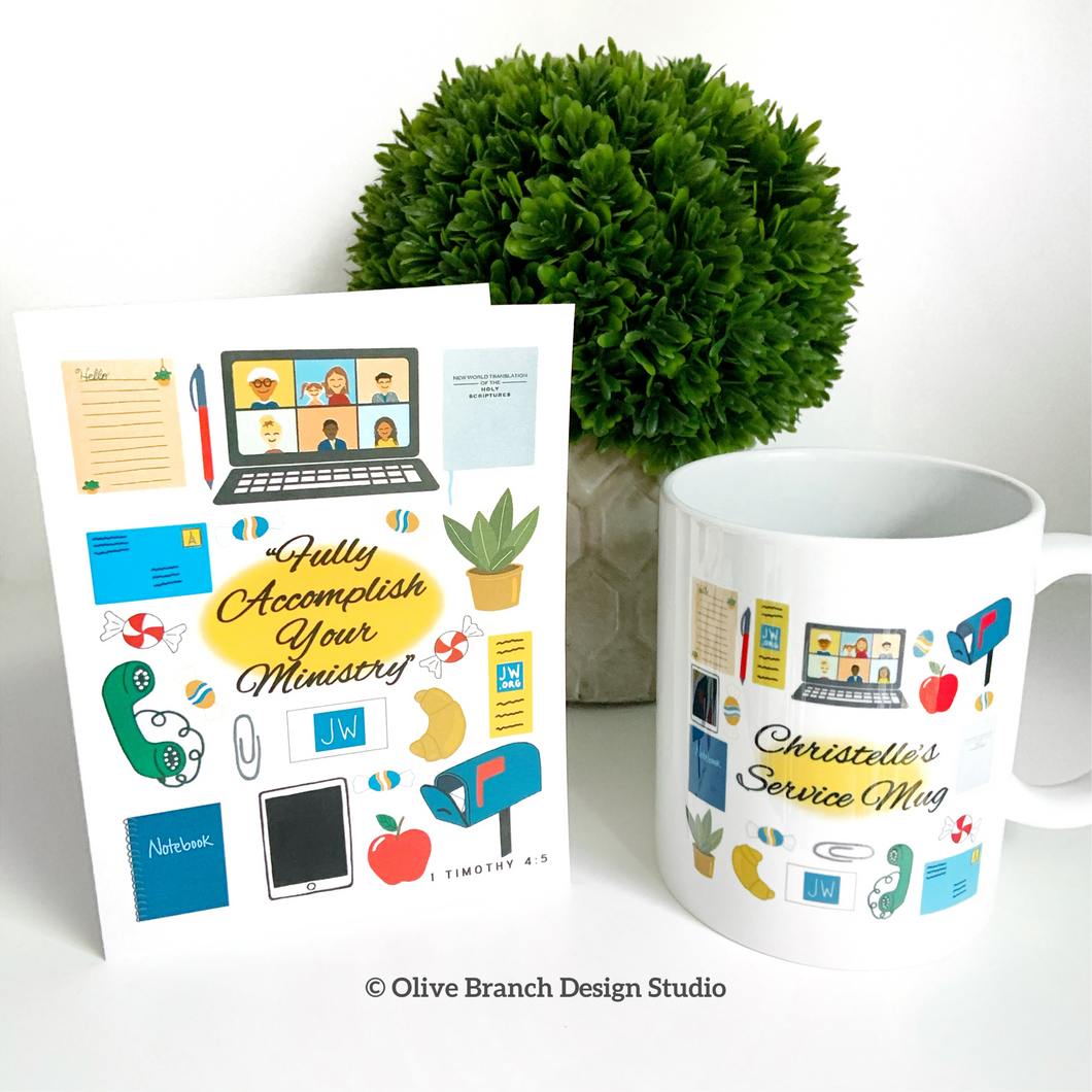 Zoom Service Mug and Card JW Fully Accomplish Your Ministry