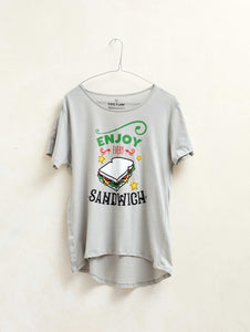 "Camiseta mujer manga corta ""Enjoy Every Sandwich"" color gris"