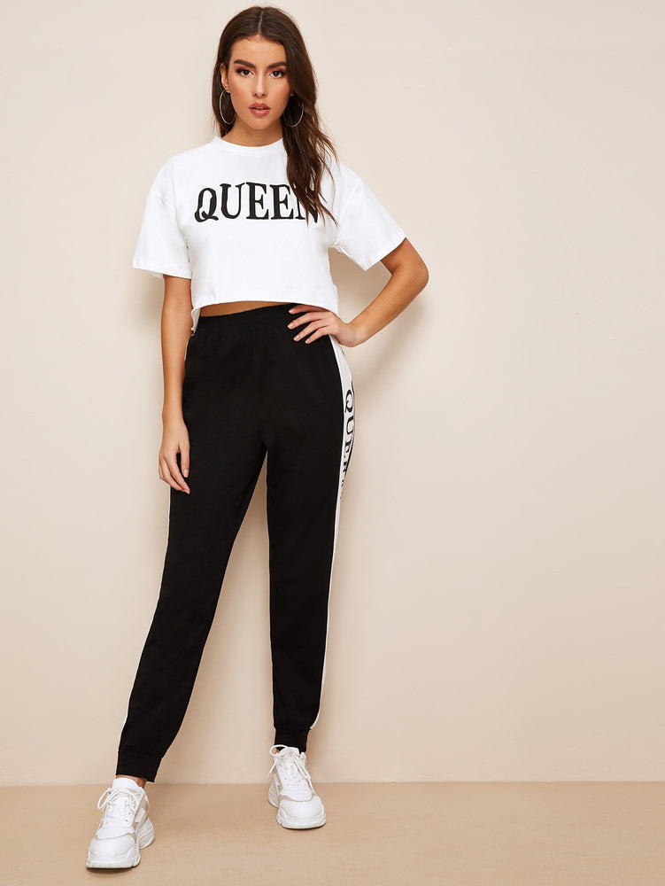 Letter Print Crop Top & Pants Set
