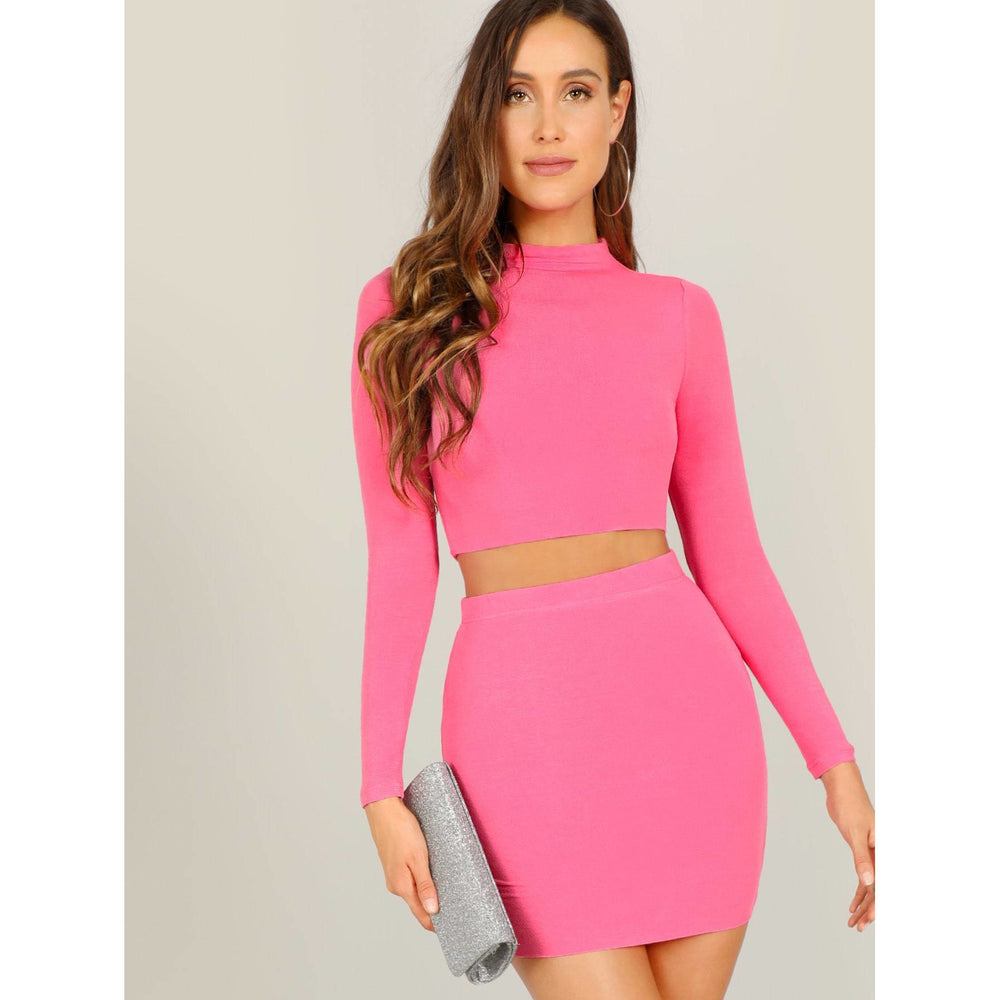 Neon Pink Mock-neck Crop Tee and Bodycon Skirt Set