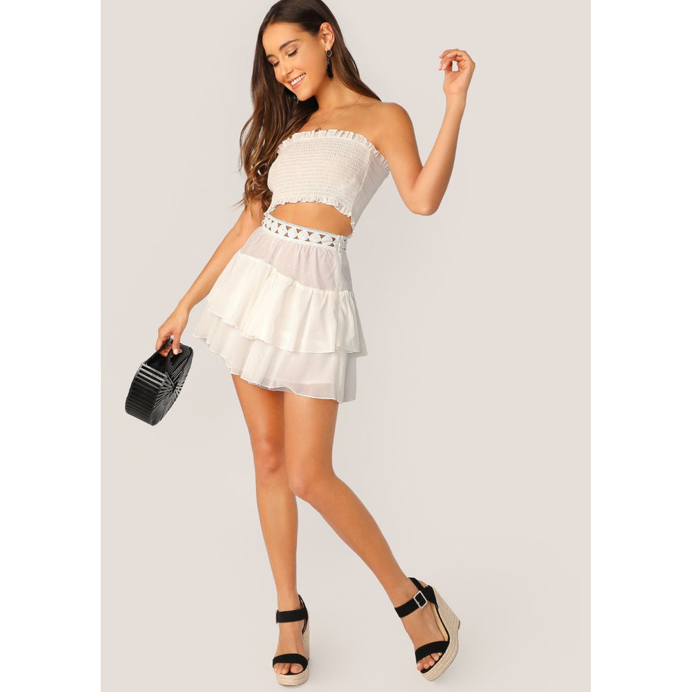 Smocked Tube Top And Mesh Lace Mini Skirt Set