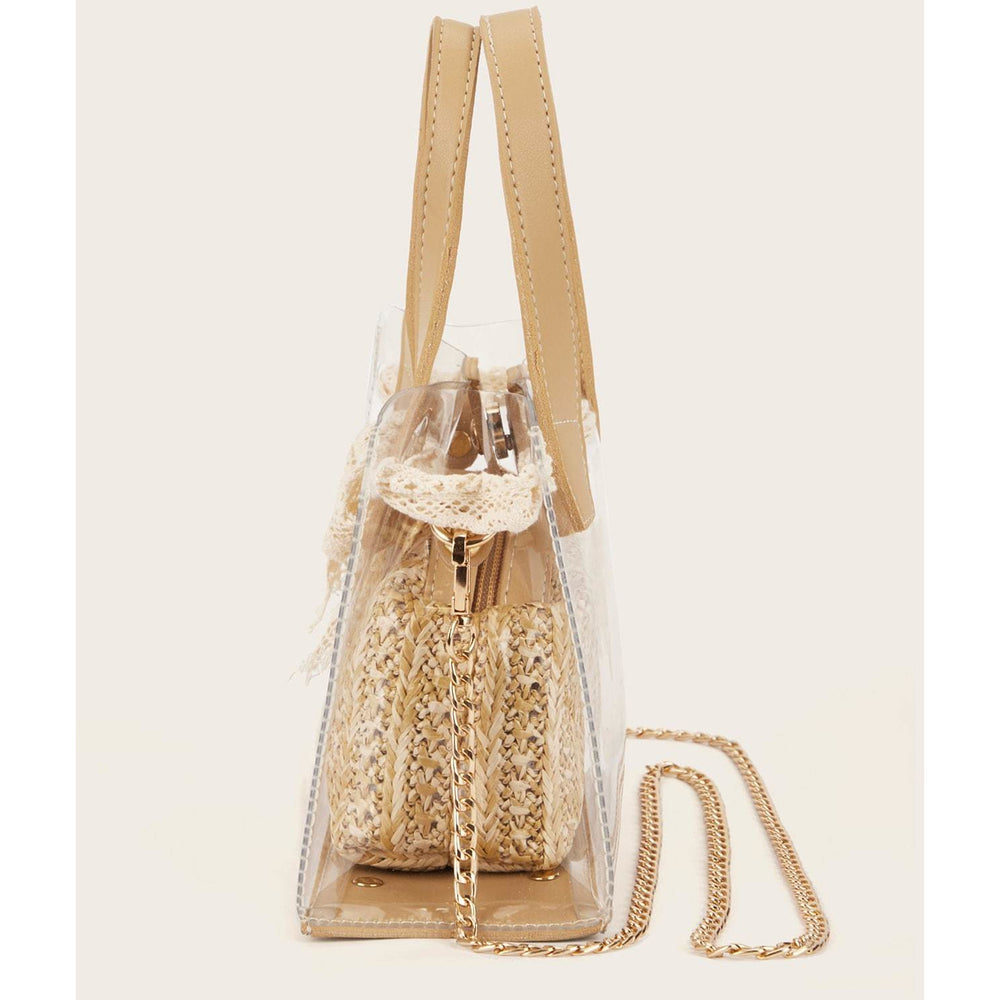 Bow Decor Clear Bag With Inner Satchel