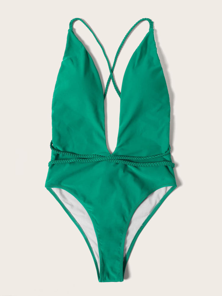 Plunging Criss Cross Back One Piece Swimsuit