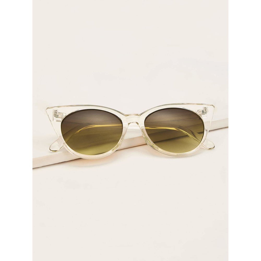 Transparent Frame Tinted Lens Cat Eye Sunglasses
