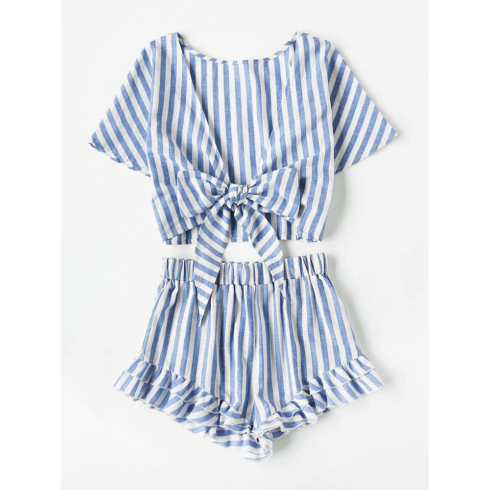 Plunging Bow Tie Two Way Top And Ruffle Shorts Set