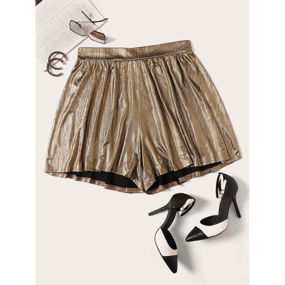 Plus Elastic Waist Metallic Shorts