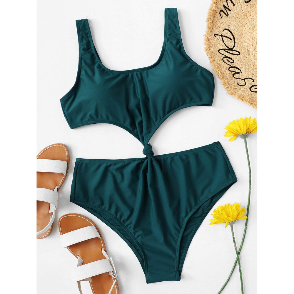 Plus Knot Cut-Out One Piece Swimsuit