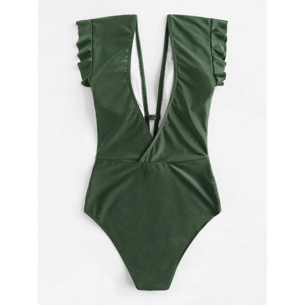 Deep-V Ruffle - One Piece Swimsuit