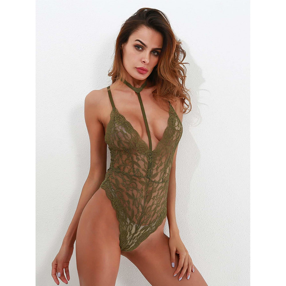 Scallop Trim Cross Back Lace Teddy Bodysuit With Choker