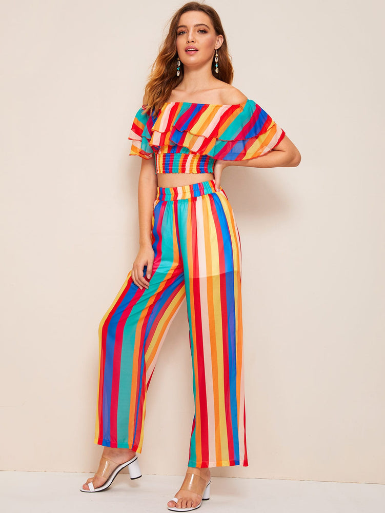 Ruffle Trim Rainbow Striped Top With Pants