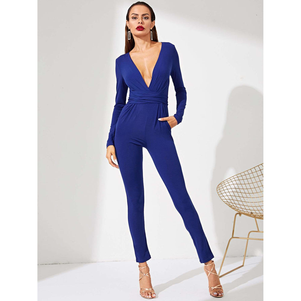 Surplice Neck Solid Jumpsuit