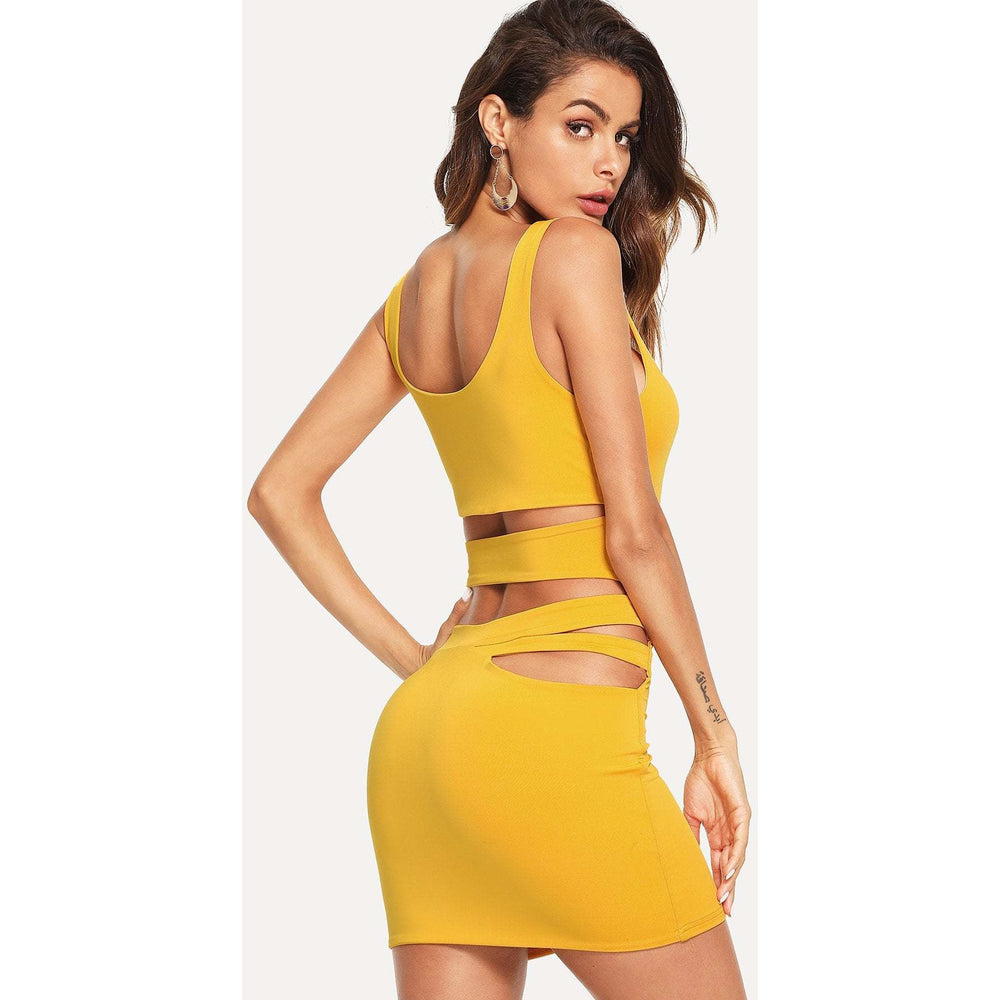 Cut Out Back Tank Bodycon Dress