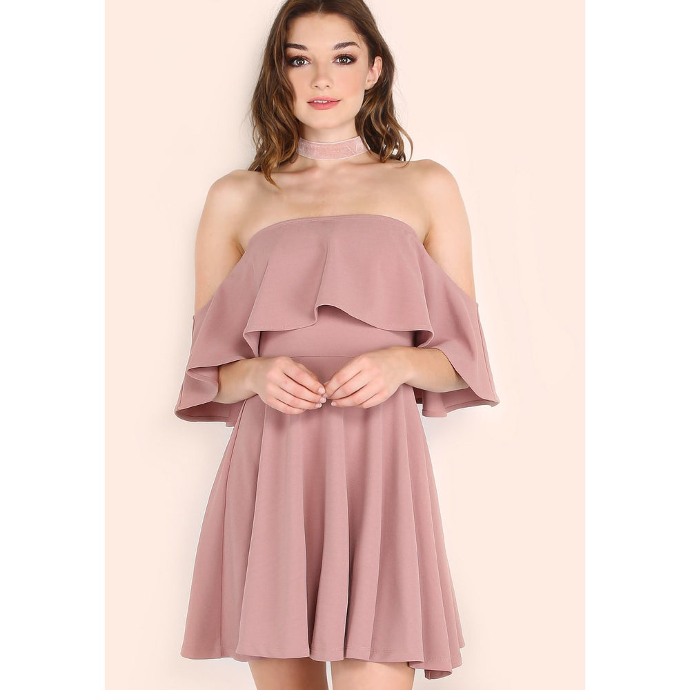 Flounce Bardot Skater Dress