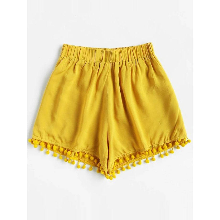 Plus Pom Pom Solid Shorts