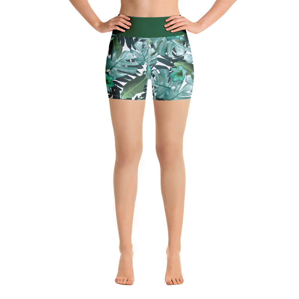 "Yoga Shorts ""Green Leaves Design"""