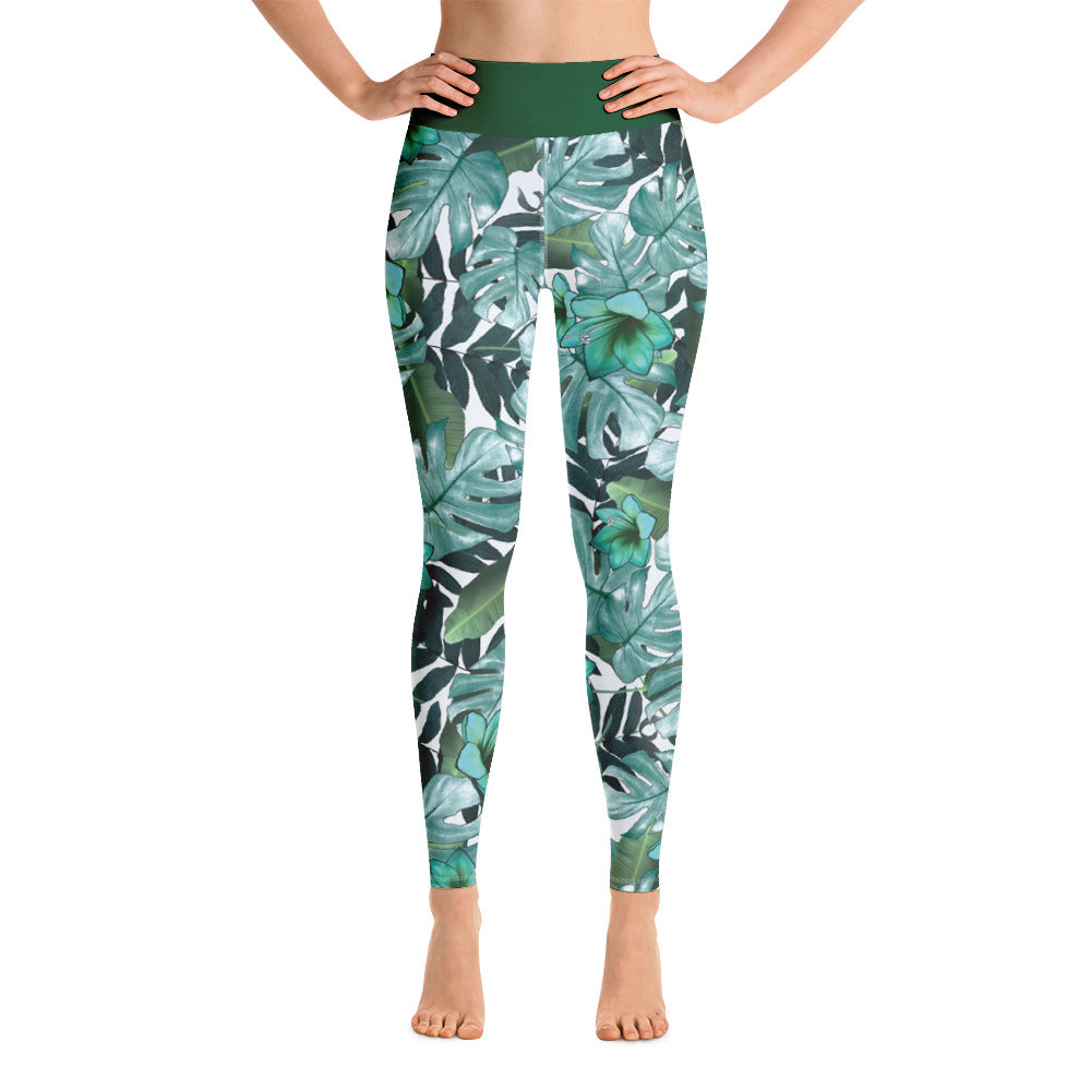 "Yoga Leggings ""Green Leaves Design"""