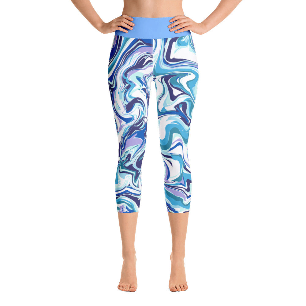 Yoga Capri Leggings Blue Marble Design