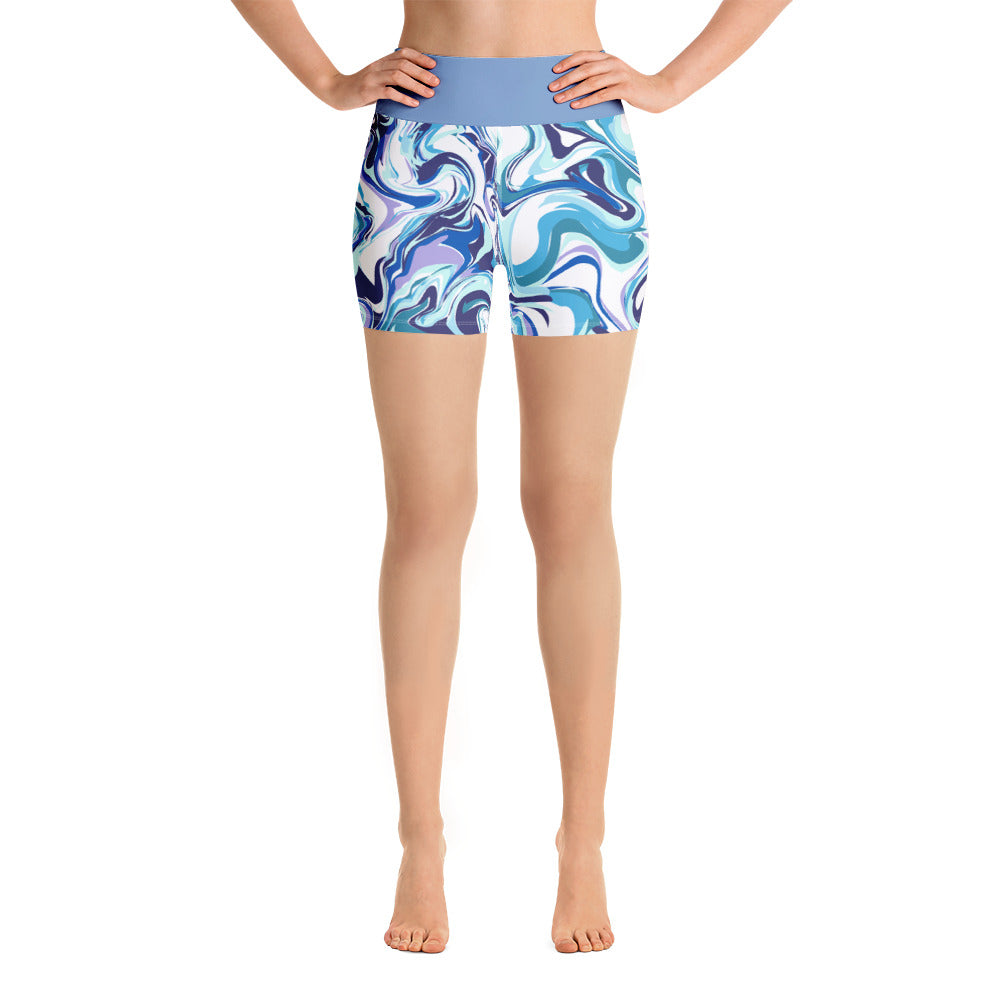 Yoga Shorts Marble Blue Design
