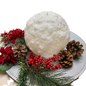 Large Sparkling Snowball Holiday Decorative Candle